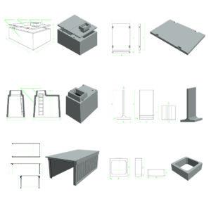 Nákresy a modely komerčné prefabrikáty pre Prefa