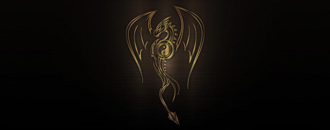 ilustrácia kovový tribal drak